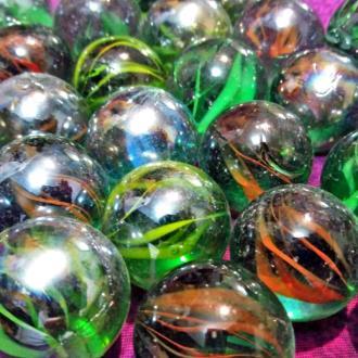 تیله شیشه ای رنگی سایز بزرگ بسته 25 عددی