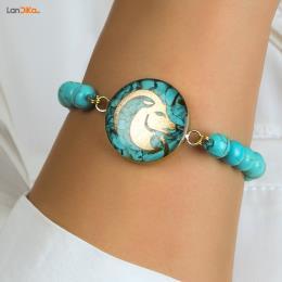 دستبند فیروزه دی ماه روکش طلا