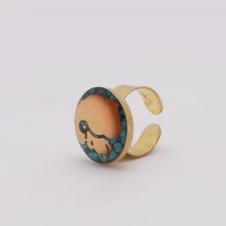 انگشتر فیروزه مرداد ماه روکش طلا
