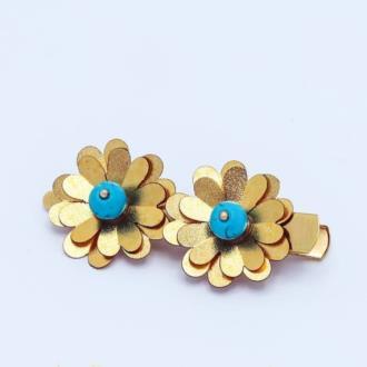 گل سر روکش طلا با سنگ فیروزه