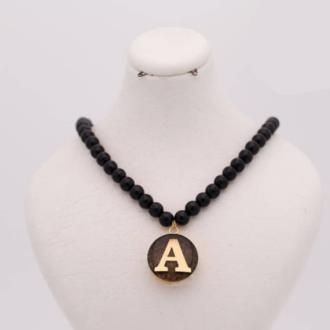 گردنبند سنگی حروف انگلیسی روکش طلا