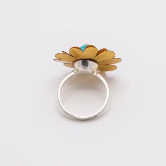 انگشتر گل روکش طلا با رکاب نقره