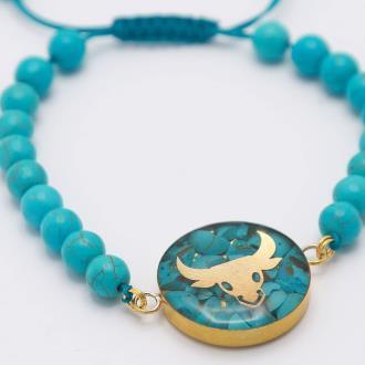 دستبند فیروزه اردیبهشت ماه روکش طلا