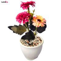 گلدان به همراه گل مصنوعی مدل ژرورا مینایی