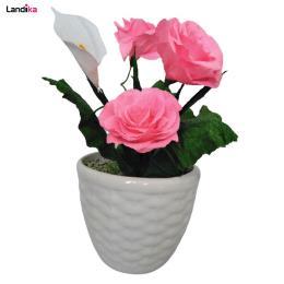 گلدان به همراه گل مصنوعی مدل حصیری