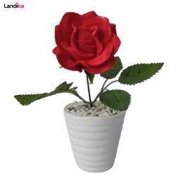 گلدان به همراه گل مصنوعی مدل رز لیوانی