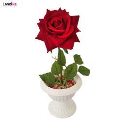 گلدان پایه دار به همراه گل مصنوعی مدل رز تک