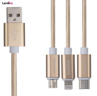 کابل تبدیل USB به USB-C /microUSB/ لایتنینگ کینگ استار مدل KD48 طول 1 متر