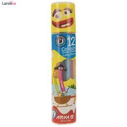 مداد رنگی ۱۲ رنگ استوانه ای آریا