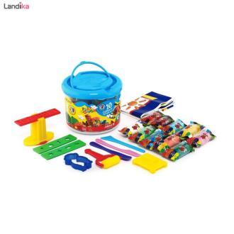 خمیر بازی سطلی 10 رنگ آریا به همراه سی دی آموزشی
