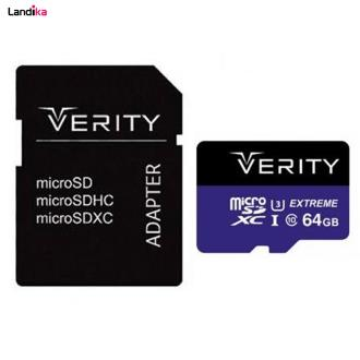کارت حافظه microSDXC وریتی مدل 4K کلاس 10 استاندارد UHS-I U3 سرعت 80MBps ظرفیت 64 گیگابایت به همراه آداپتور SD