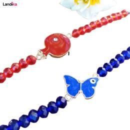 دستبند کریستال طرح انار و پروانه