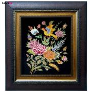 تابلو فرش دستباف طرح گل و پرنده کد 07