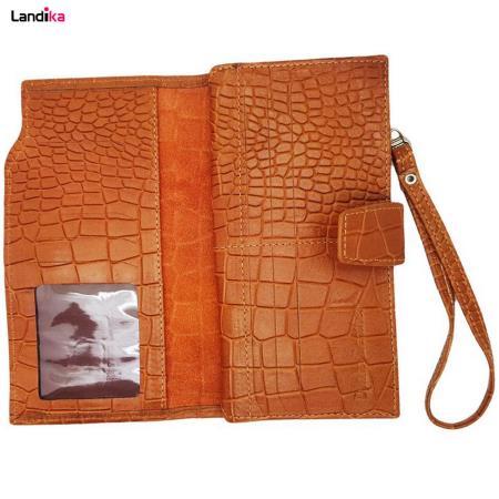 کیف پول و موبایل چرم طبیعی کروکو مدل VL28